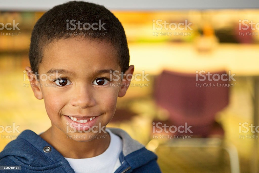 Little Boy At School stock photo