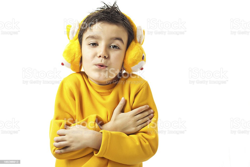 Little boy be cold stock photo