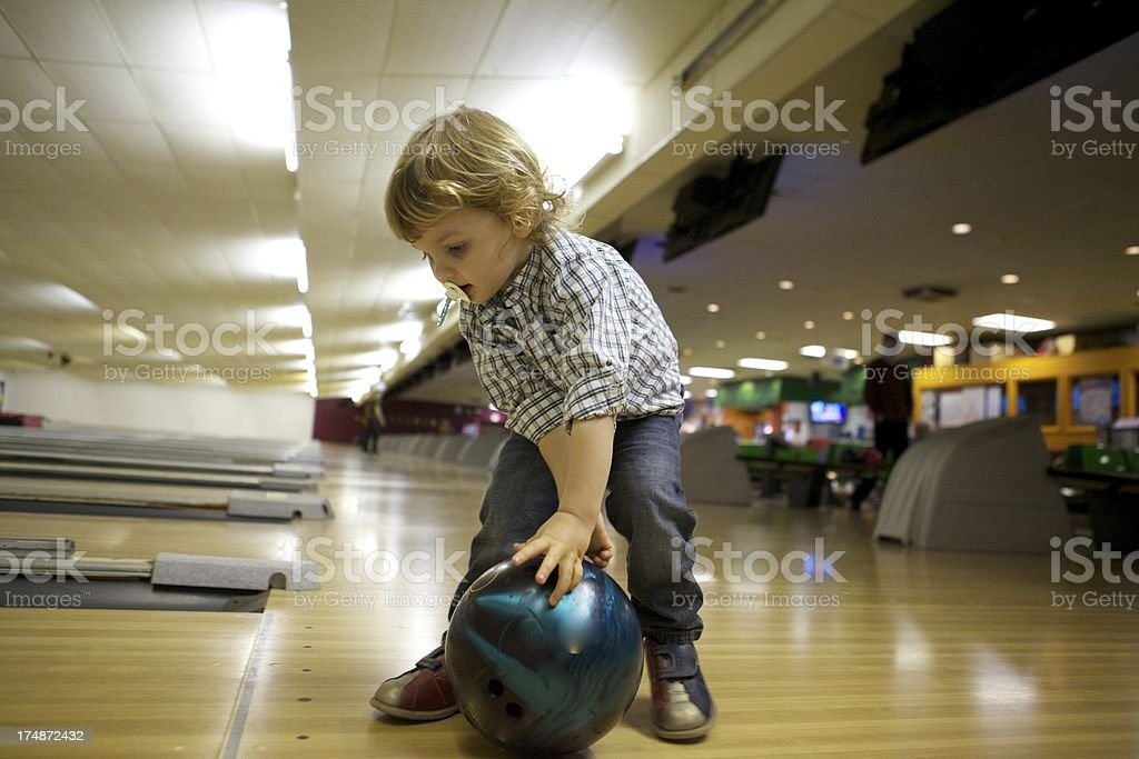 Little Boy Bowling royalty-free stock photo