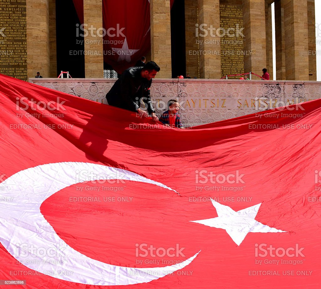 Little boy celebrating April 23 National Sovereignty and Childrens Day stock photo