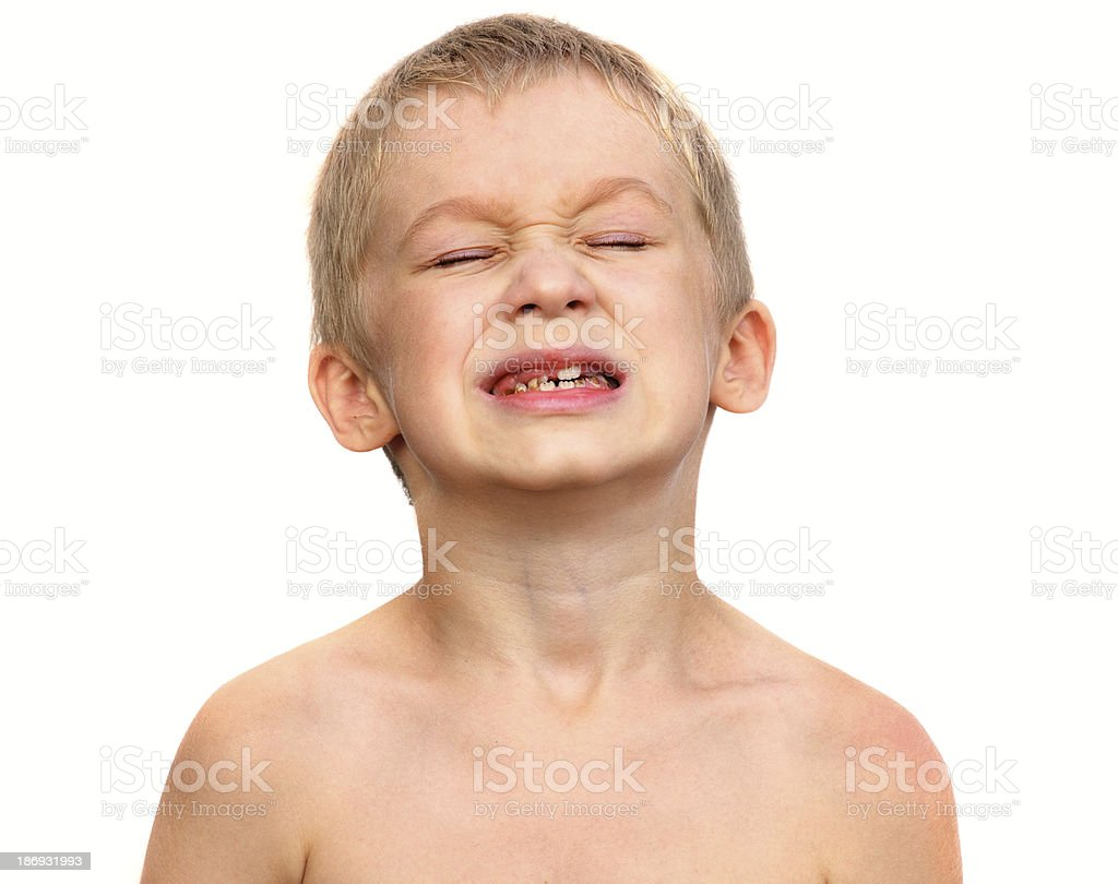 Little Boy Child making sore crying Face Dental problems concept stock photo