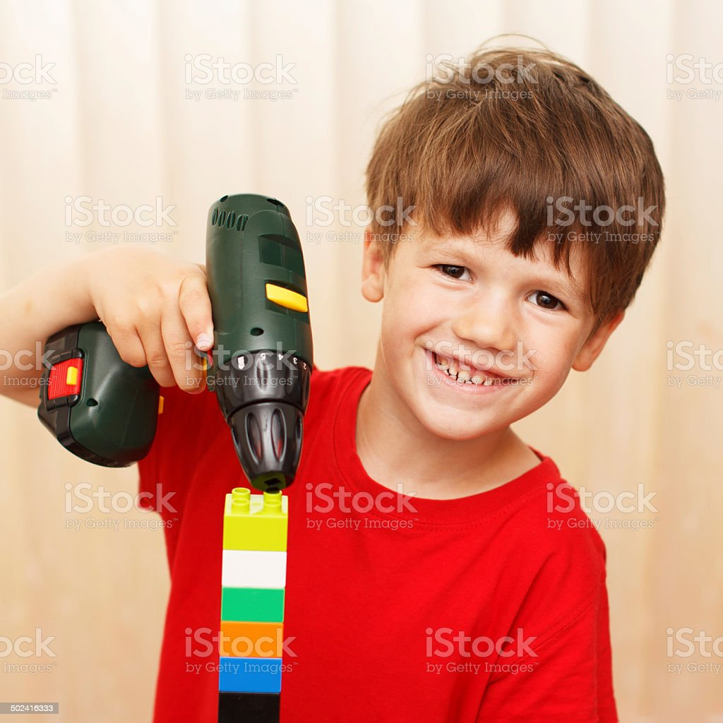 Little boy construct royalty-free stock photo