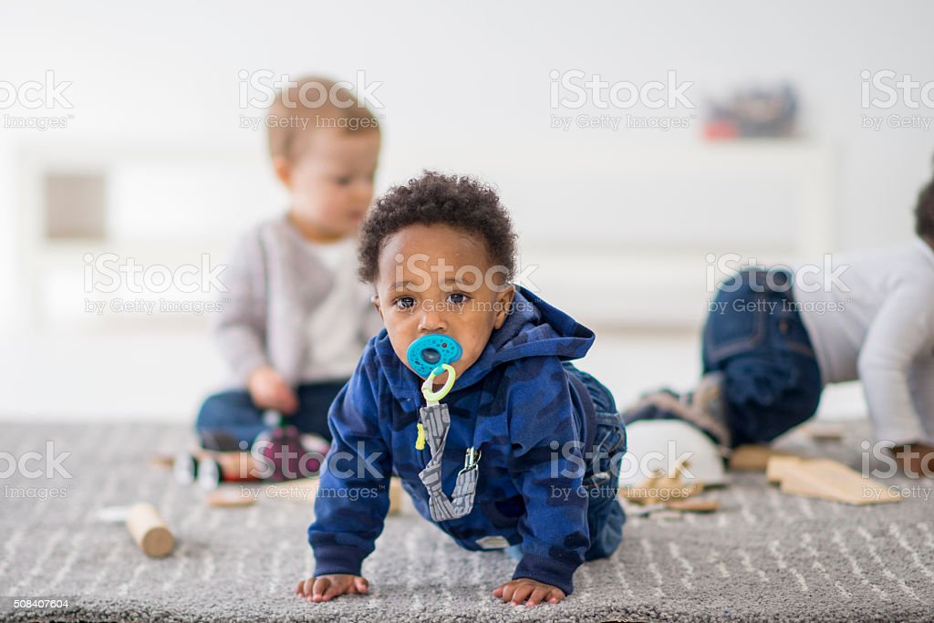 Little Boy Crawling stock photo