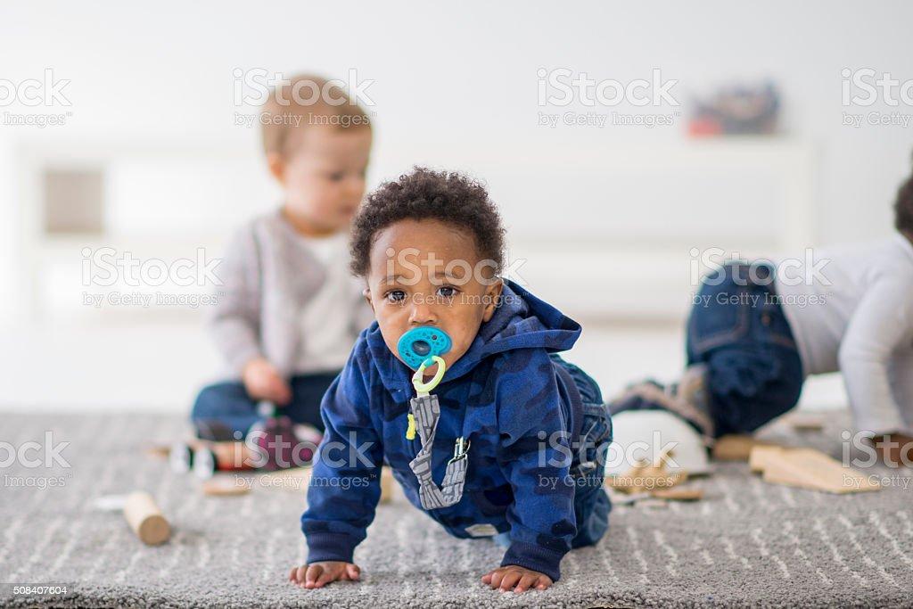 Little Boy Crawling stock photo