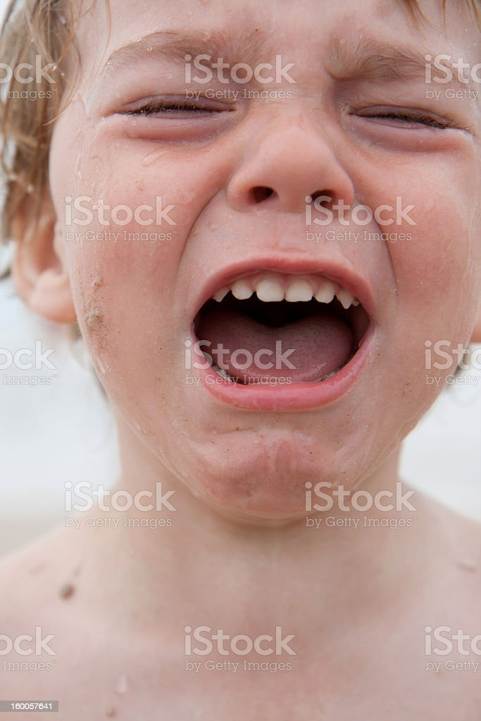 Little boy crying, mouth wide open and eyes closed royalty-free stock photo