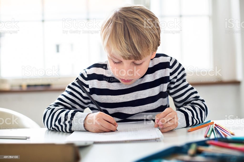 Little boy doing homework stock photo