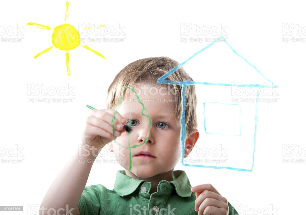 Little boy drawing royalty-free stock photo