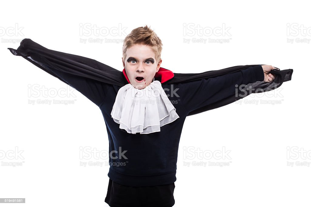 Little boy dressed up as Dracula for the halloween party stock photo