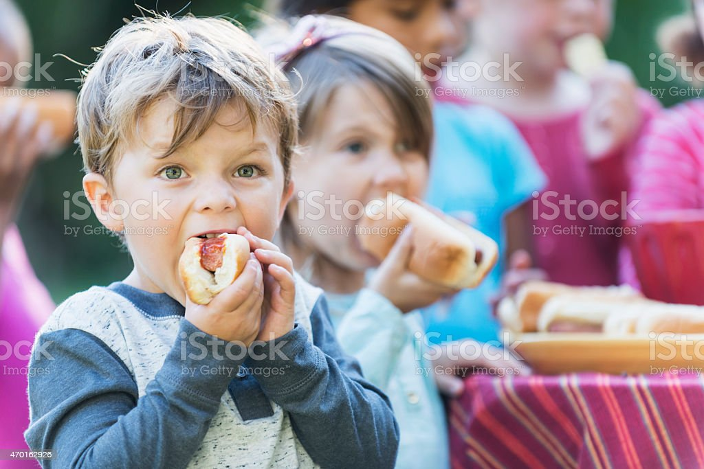 Little boy eating a hotdog at a cookout stock photo