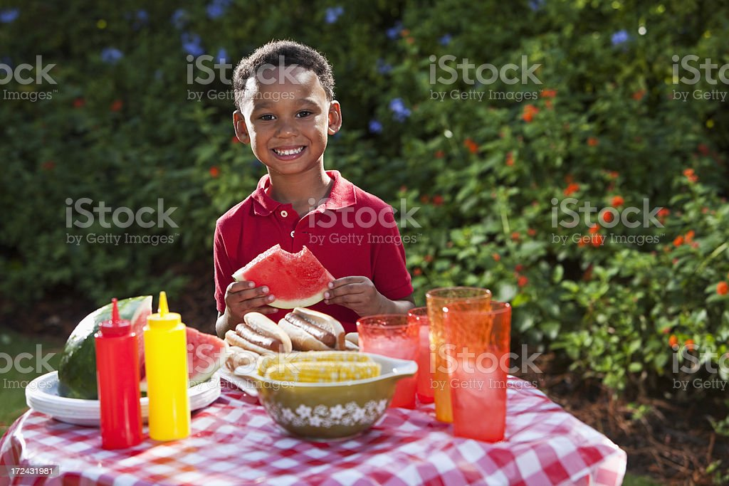 Little boy eating at picnic royalty-free stock photo