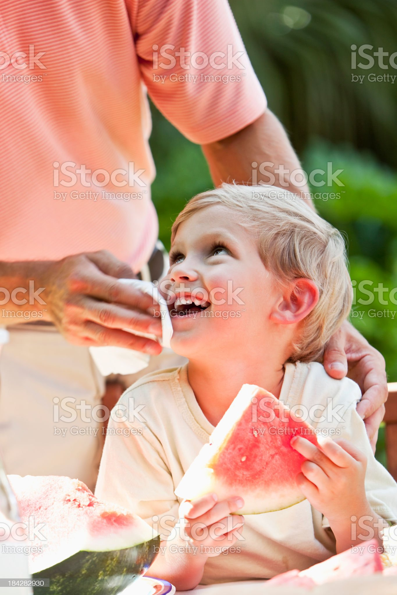 Little boy eating watermelon royalty-free stock photo
