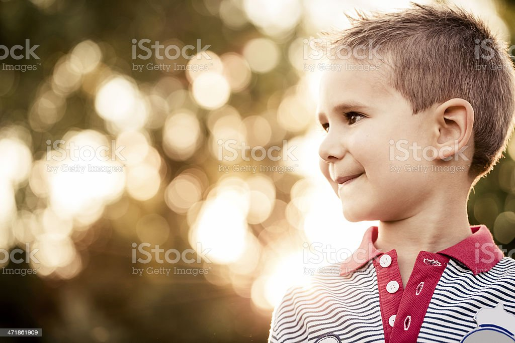 Little boy  enjoying nature royalty-free stock photo