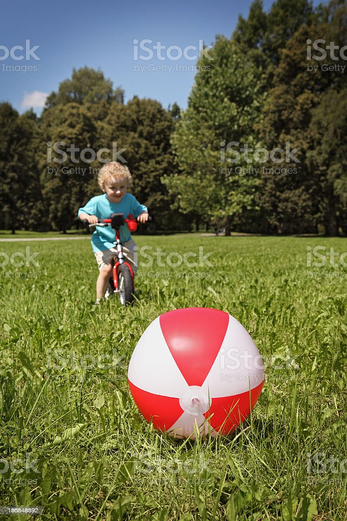 Little Boy Enjoying Summer Day in the Park royalty-free stock photo