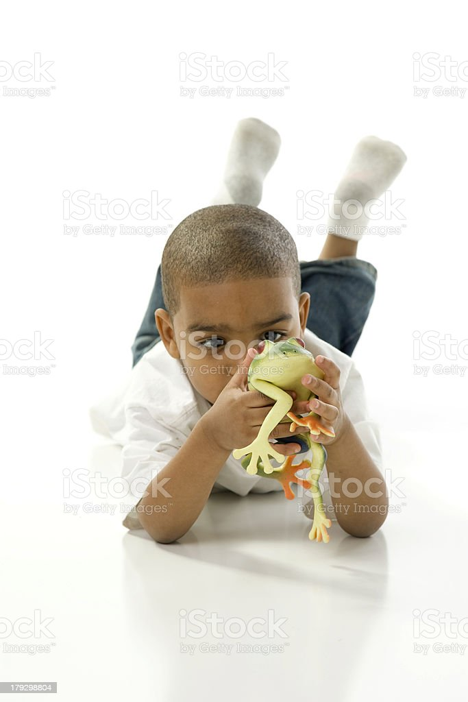 Little Boy Examines His Frog royalty-free stock photo
