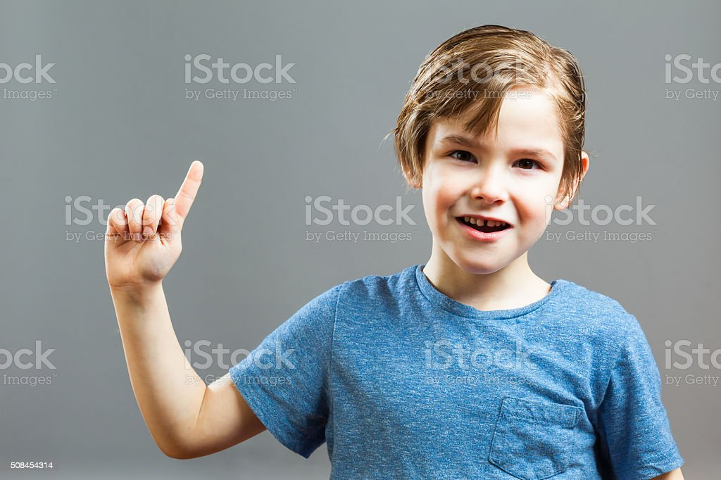 Little Boy Expressions - I have got an Idea stock photo