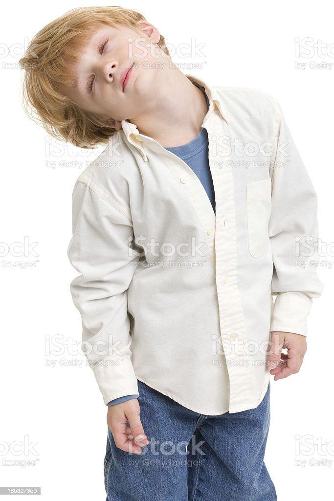Little Boy Falling Asleep Standing stock photo