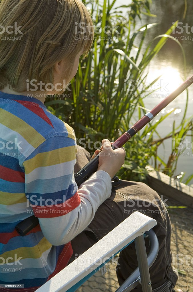 Little Boy Fishing royalty-free stock photo