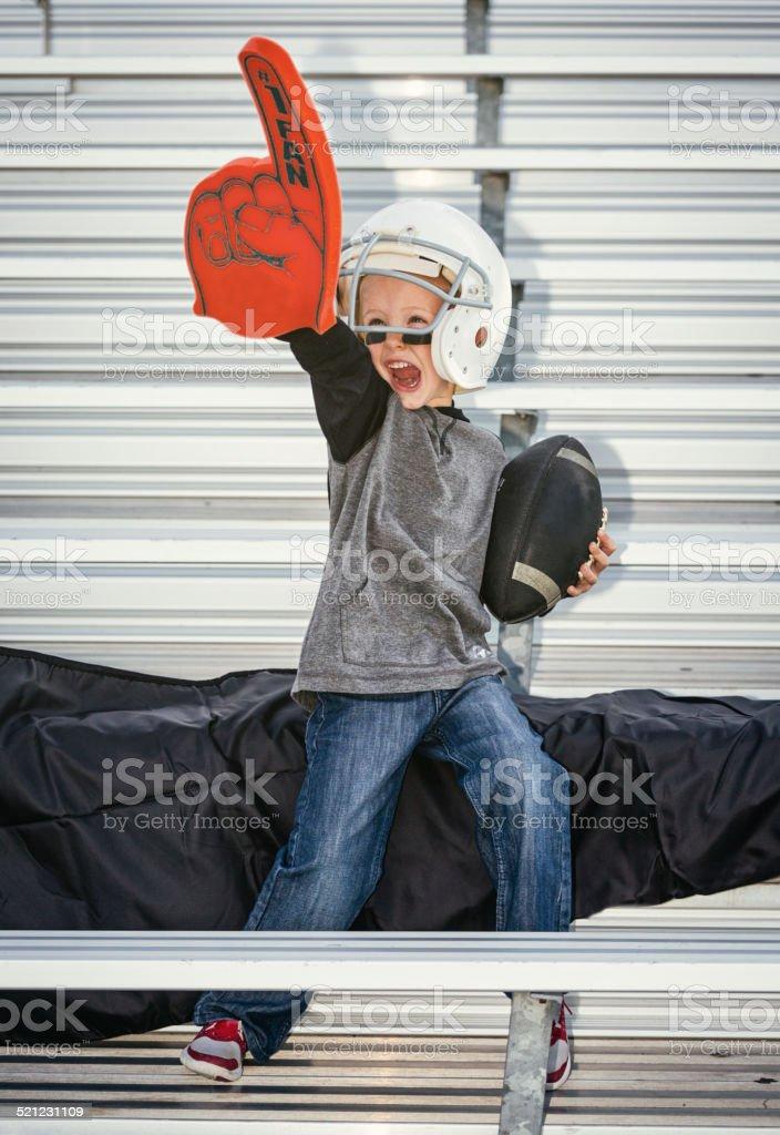 Little Boy Football Fan stock photo