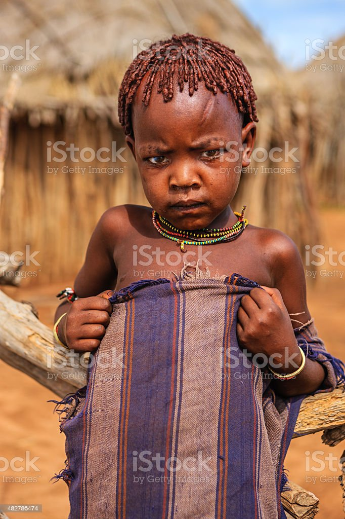Little boy from Hamer tribe, Ethiopia, Africa stock photo