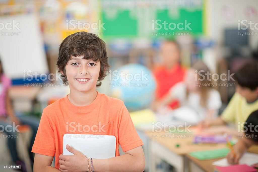 Little Boy Going Back to School stock photo