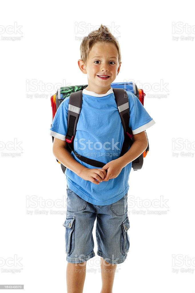 Little boy going to school royalty-free stock photo