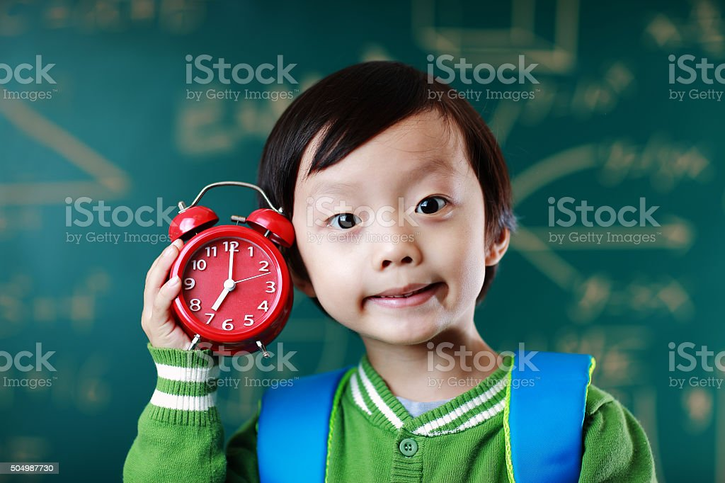 Little boy going to school stock photo
