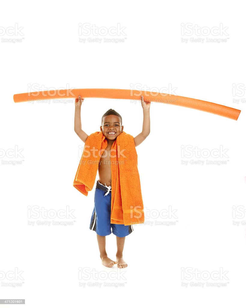 Little Boy Going to the Pool royalty-free stock photo