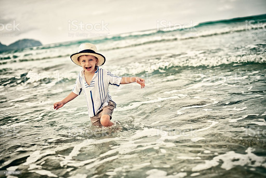 Little boy having fun in sea royalty-free stock photo