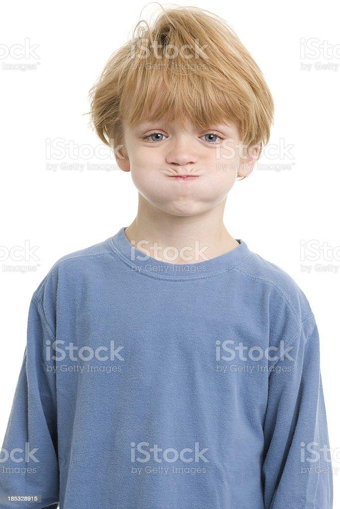 Little Boy Holding Breath stock photo