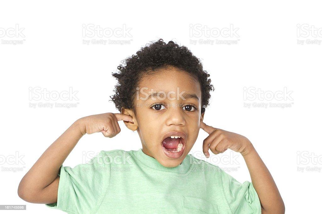 little boy holding ears royalty-free stock photo