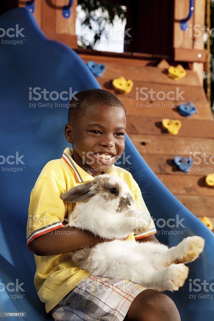 Little Boy Holding His Pet Rabbit royalty-free stock photo