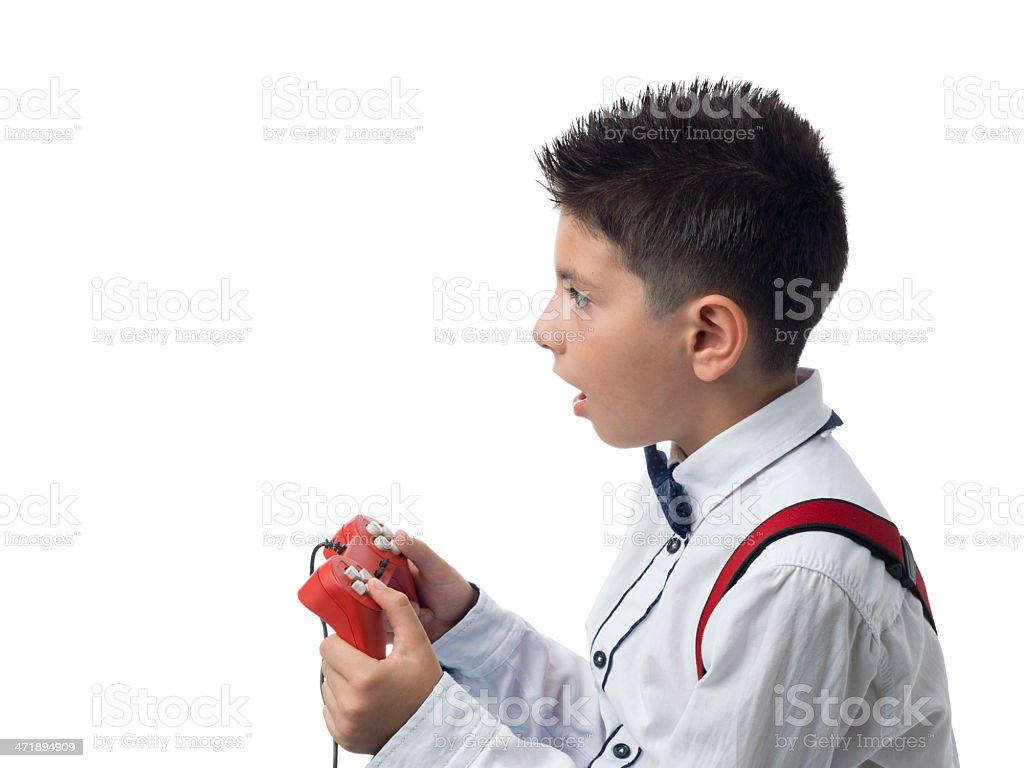 Little boy holding video game joystick royalty-free stock photo
