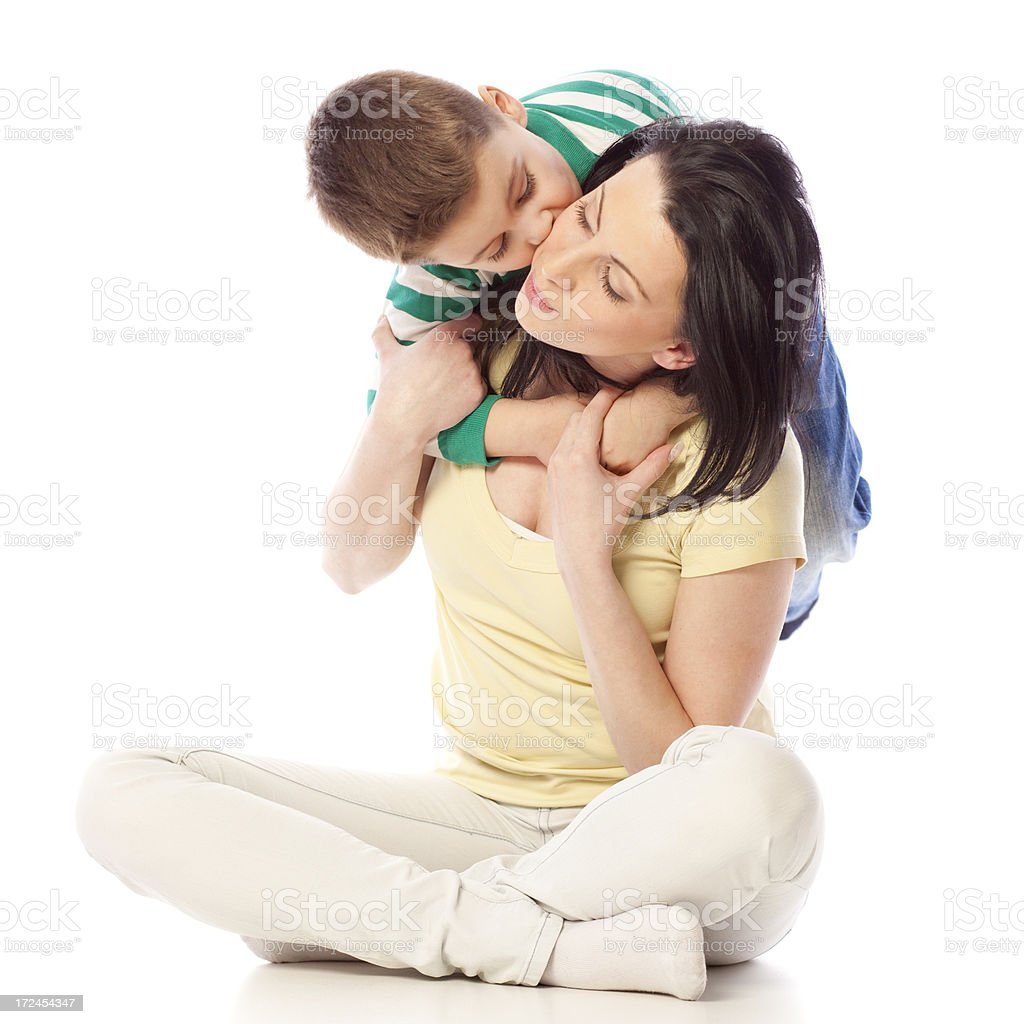 Little boy hugging his mother royalty-free stock photo