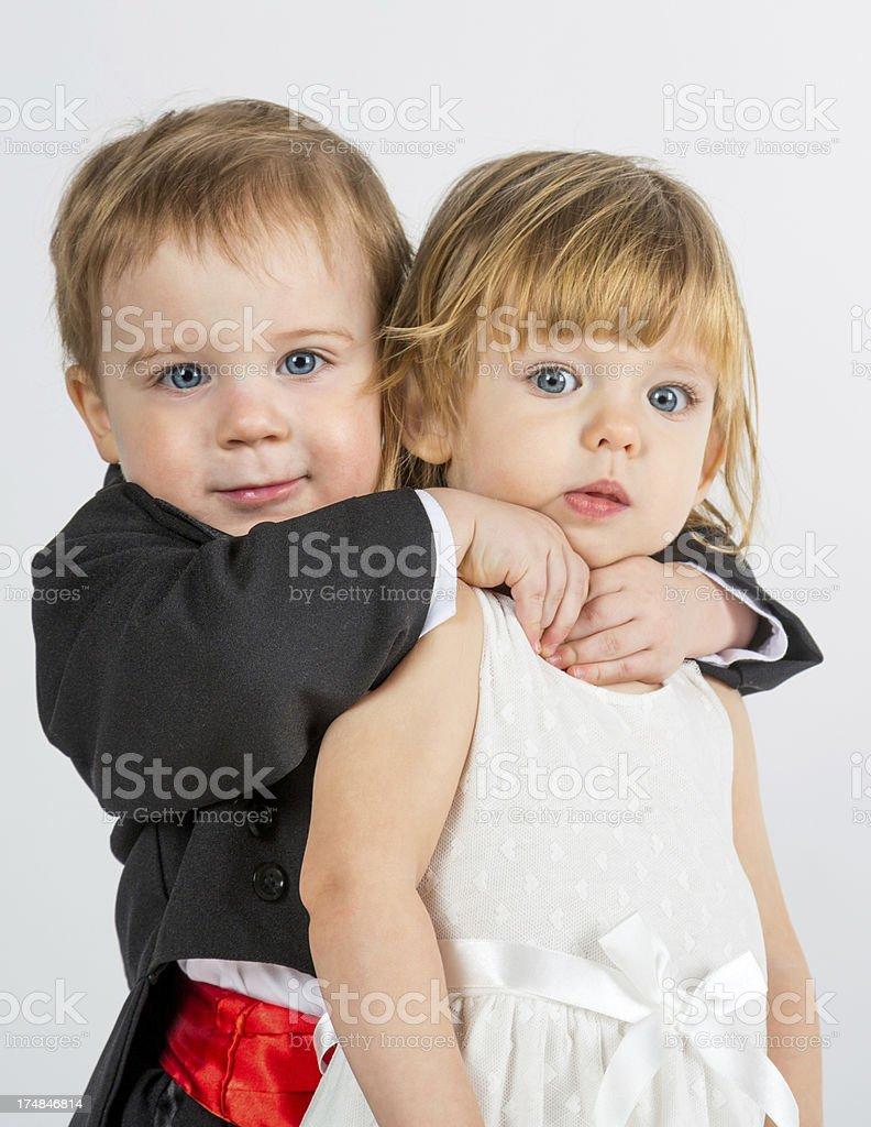 Little boy hugging lttle girl royalty-free stock photo