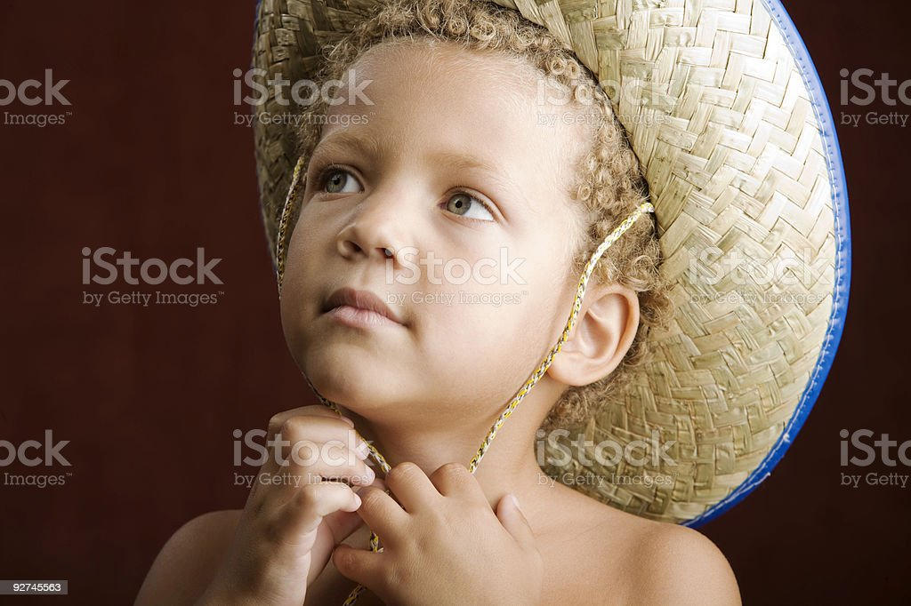 Little Boy in a Straw Hat royalty-free stock photo