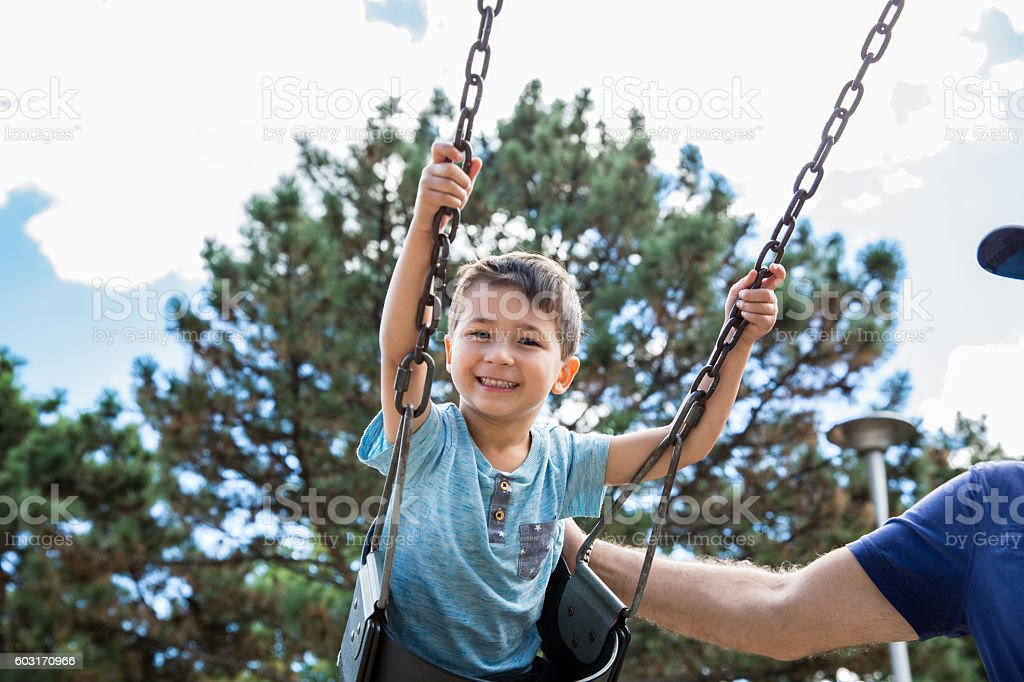 Little boy in a Swing stock photo