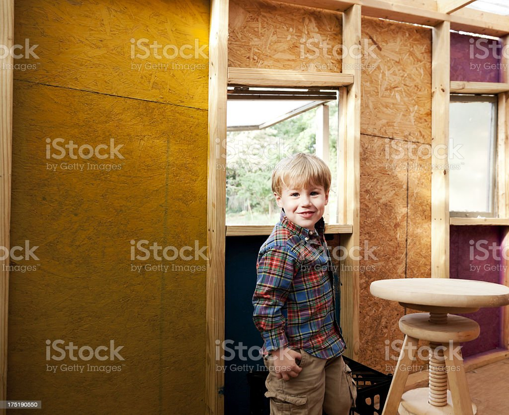 Little Boy in a Tree House royalty-free stock photo