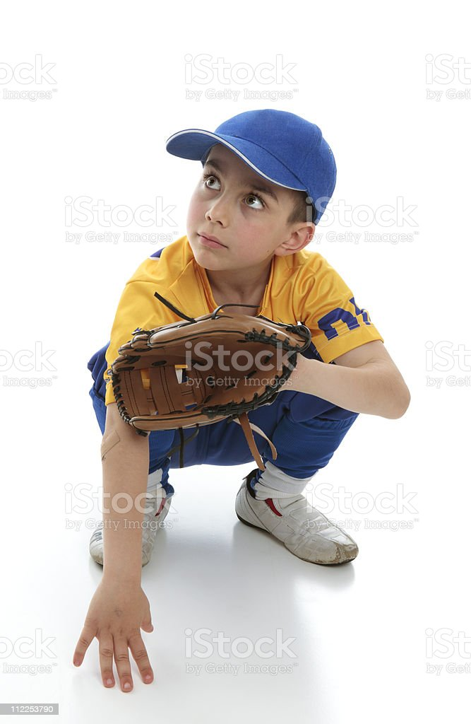 Little boy in baseball T-ball gear stock photo