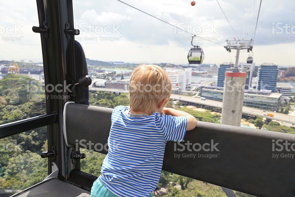 little boy in cable car royalty-free stock photo
