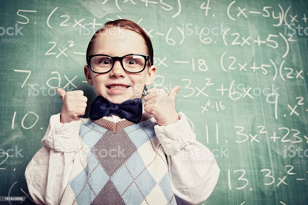 Little boy in geek clothes excited about math royalty-free stock photo