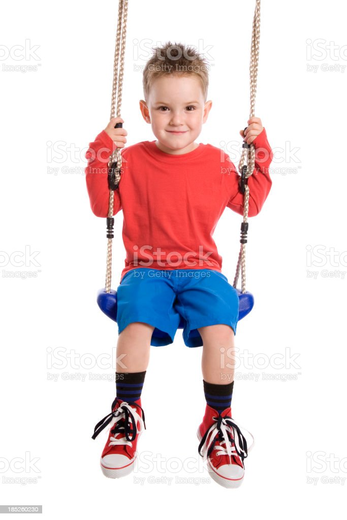 Little Boy In Red Shirt And Blue Shorts On A Swing stock photo ...