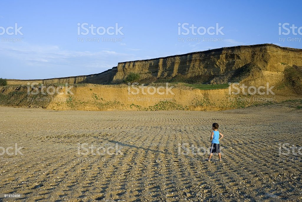 Little boy in sunset royalty-free stock photo