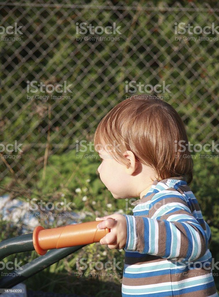 little boy in the garden stock photo