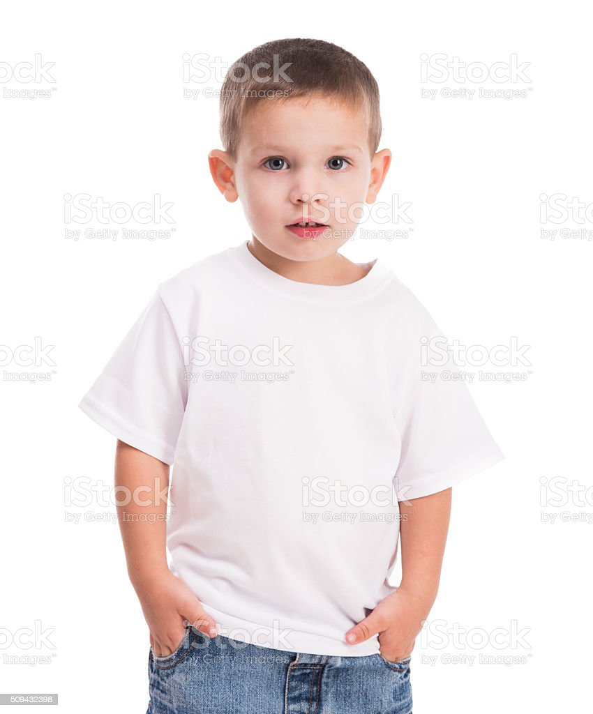 little boy in white shirt stock photo