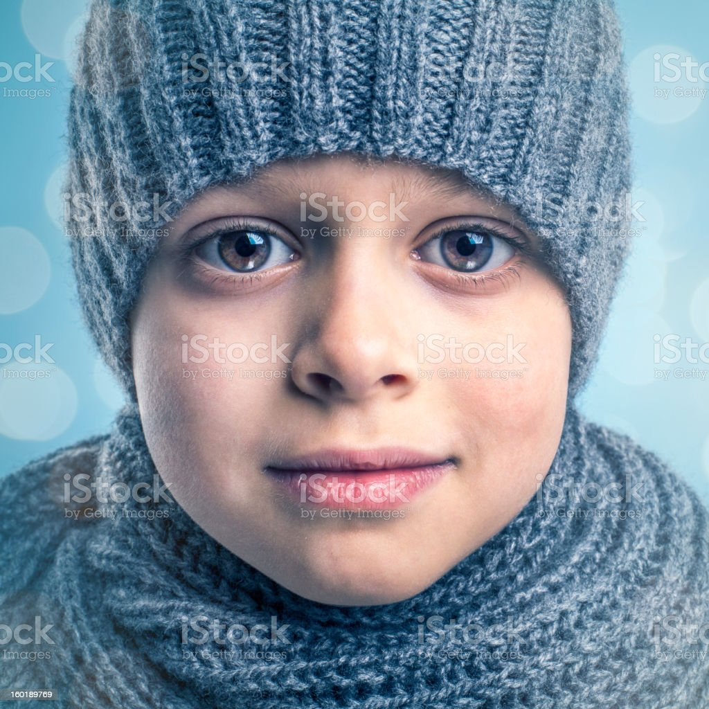 Little Boy in Winter Clothes royalty-free stock photo