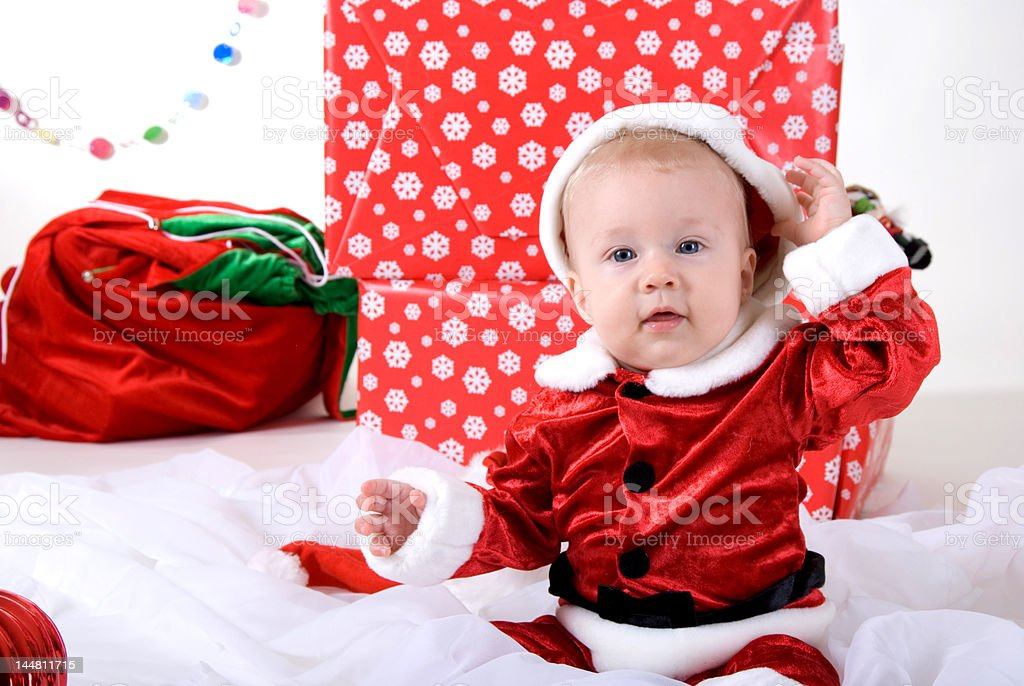 little boy in xmas outfit royalty-free stock photo