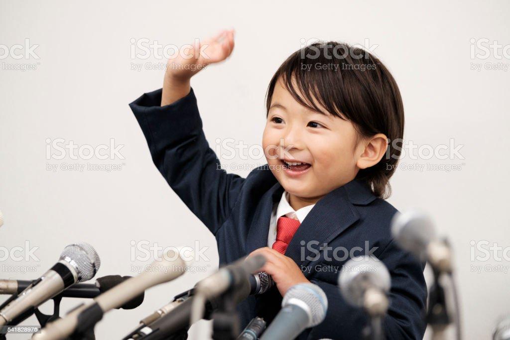 Little Boy Japanese Businessman stock photo