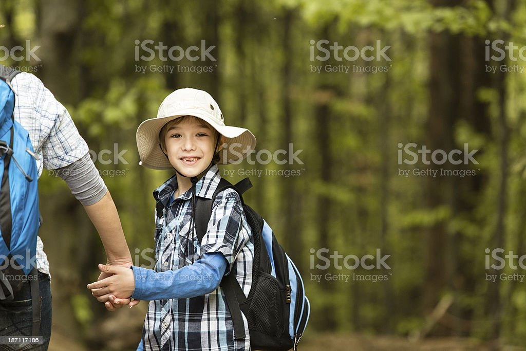 Little boy looking over his shoulder royalty-free stock photo