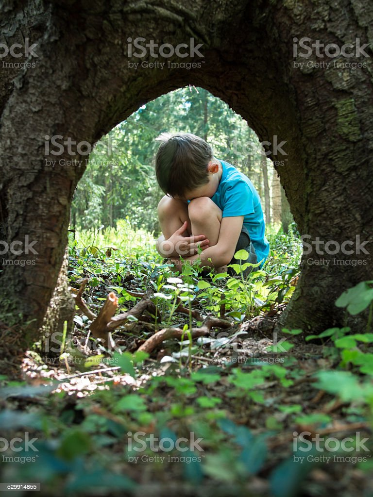 Little boy lost in the woods and sits stock photo