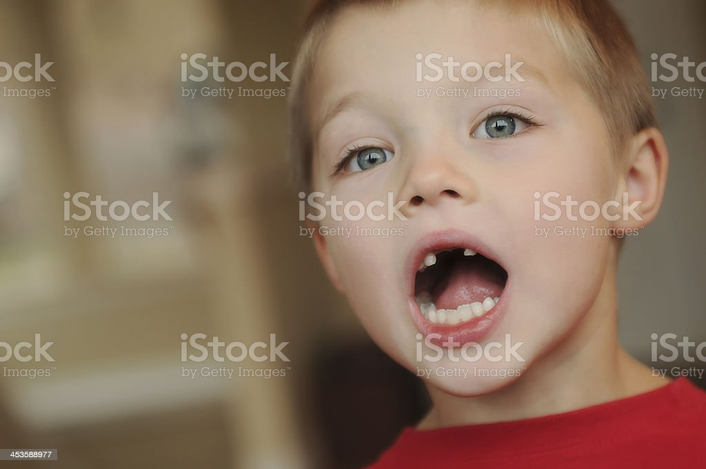 Little Boy Lost Two Teeth royalty-free stock photo